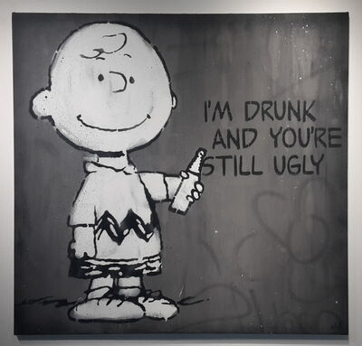 L.E.T., 'I'm Drunk And You're Still Ugly (large grey canvas)', 2014