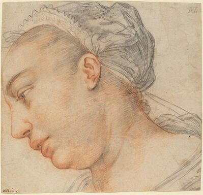 Hendrik Goltzius, 'Head of a Young Woman', ca. 1605