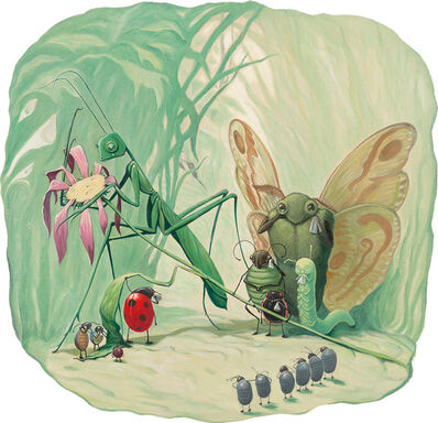 """William Joyce, '""""...The flowers grew dry from thirst."""" Illustration for Joyce's The Leaf Men and the Brave Good Bugs by William Joyce (New York: Laura Geringer Books, 1996)'"""