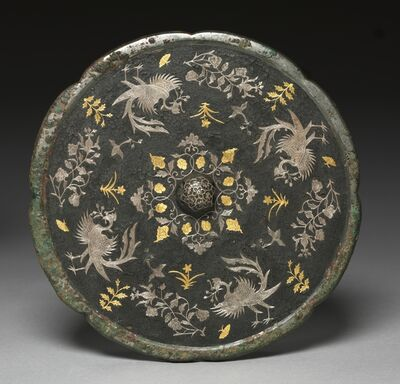 China, Tang dynasty, 'Mirror with Phoenixes, Birds, Butterflies, and Floral Sprays', 700s