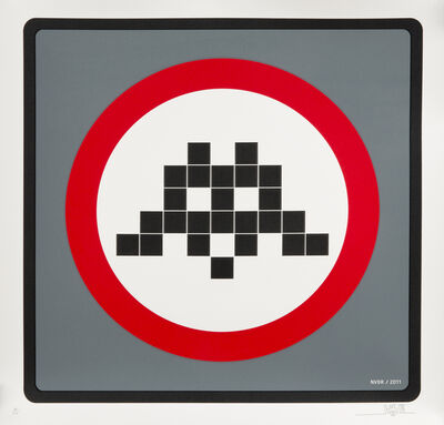 Invader, 'Warning (Grey)', 2011