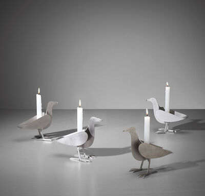 François-Xavier Lalanne, 'Set of four 'Oiseau d'Argent' candlesticks', ca. 1990
