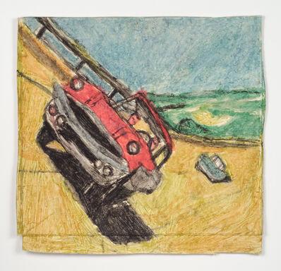 James Castle, 'Untitled (Cars on sloped track)'