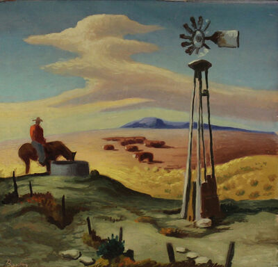 Thomas Hart Benton, 'Cowboy at the Well', 1946