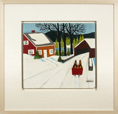 Maud Lewis, 'Red House and Covered Bridge'