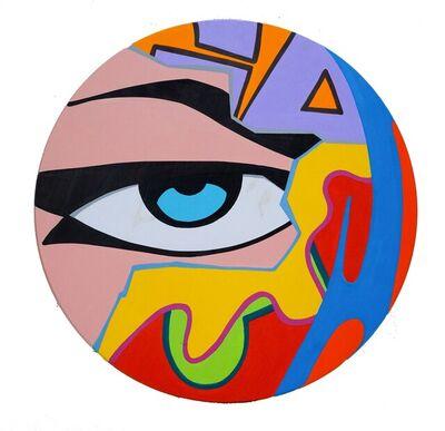 CRASH, 'Untitled Wood Circle (blue eye)', 2020