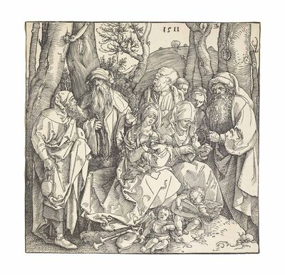 Albrecht Dürer, 'The Holy Kinship with lute-playing Angels (B. 97; M., Holl. 216; S.M.S. 227)', 1511