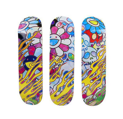 Takashi Murakami, 'Takashi Murakami Flaming Skulls Skateboard Decks (set of 3) ', 2018