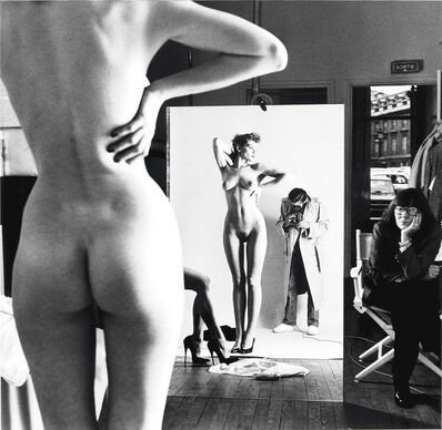 Helmut Newton, 'Self-Portrait with Wife and Models, Paris (Signed)', 1981