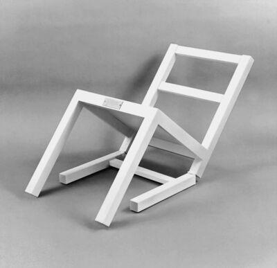 Timm Ulrichs, 'Der erste sitzende Stuhl (nach langem Stehen sich zur Ruhe setzend)', 1970