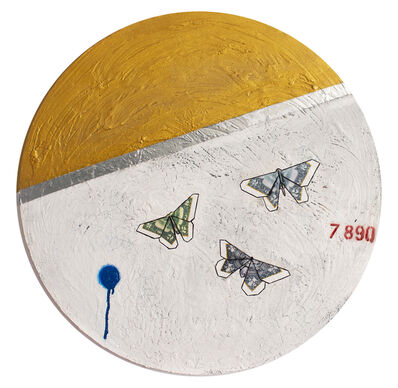 Guy Stanley Philoche, '14 Karat Gold Paint with Three Money Butterflies', 2019