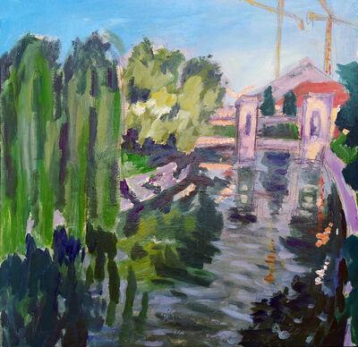 Norma de Saint Picman, 'Water series summer 2019 - plein air in situ paintings, Plečnik's locks, No 2, afternoon', 2019