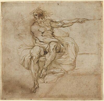 Agostino Carracci, 'Seated Male Nude [recto]', 1600/1602