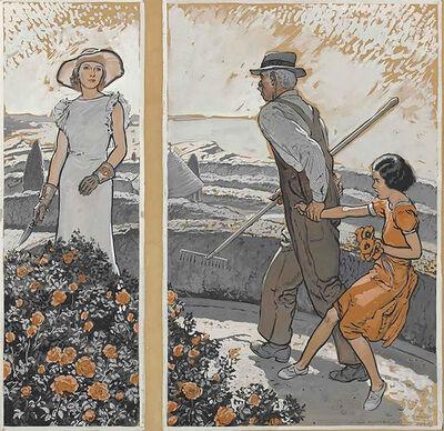 """Harold Von Schmidt, '""""She's Stealin' Flowers, Mrs. Atherton!""""', 1934"""