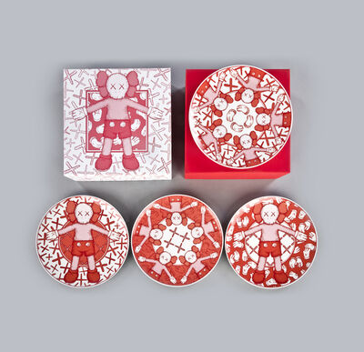 KAWS, 'Ceramic Plates (Red, Set of 4)', 2019