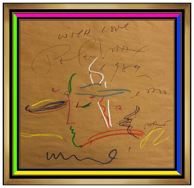 Peter Max, 'Peter Max Original Ink Drawing Blushing Beauty Profile Love Signed Pop Artwork', 1989