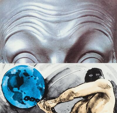 John Baldessari, 'Raised Eyebrows/Furrowed Foreheads: Figure with Globe', 2009