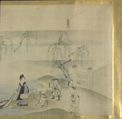 Hosoda Eishi, 'Three Gods of Good fortune on A Pleasure Outing', about 1800-1829