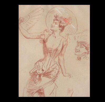 Jules Chéret, 'Jeune femme à l'éventail, et étude de visage (Young Woman with Fan, and Study of a Face)', 1904