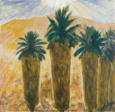 Frederick Wight, 'Four Palms and a Mountain (Monte Rosa)', 1980