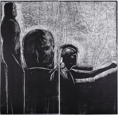Ofer Lellouche, 'Self-Portrait with a Sculpture of a Head', 2012