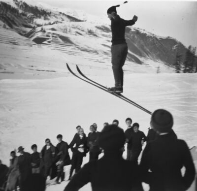 Jacques Henri Lartigue, 'Ski jumping competition, St. Moritz, February', 1913