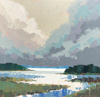 """Paul Norwood, '""""Distant Blue Shore"""" Impasto landscape painting with blue, green and grays', 2019"""