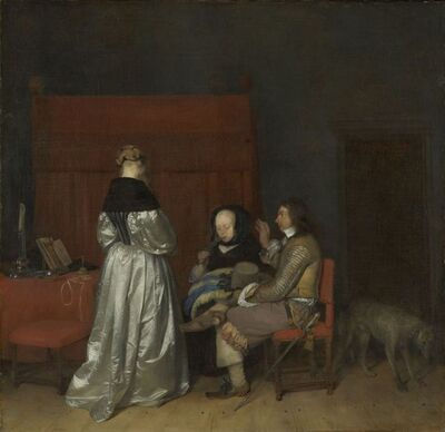 Gerard ter Borch the Younger, 'Gallant Conversation, Known as 'The Paternal Admonition'', ca. 1654