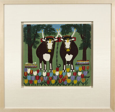 Maud Lewis, 'Oxen in Spring Three Legs'
