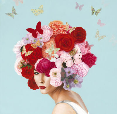 "Elise Remender, '""Summer Botanical"" Surrealistic oil painting of a woman with a head dress of pink and red flowers and butterflies', 2019"