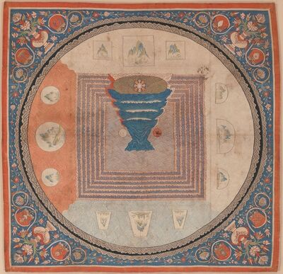 Unknown Chinese, 'Cosmological Mandala with Mount Meru (元 緙絲 須彌山曼陀羅)', 14th century