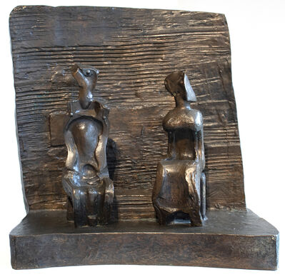 Henry Moore, 'Two Seated Figures Against Wall', 1960