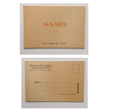 "Jean-Michel Basquiat, '""SAMO"", FIRST ONE MAN SHOW, Exhibit Invitation Card, Galleria d'Arte Emilio Mazzoli Italy', 1981"