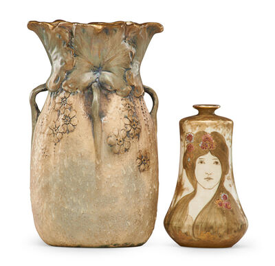 Nikolaus Kannhäuser, 'Small Amphora Portrait vase with maidens (Kannhauser) and four-handled vase with flowers', 1900s