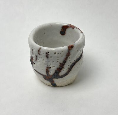Goro Suzuki 鈴木五郎, 'Guinomi, Shino with iron glaze', ca. 1990