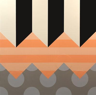 """Kevin Hebb, '""""Black White Salmon Stripes Grey Dots""""', 2019"""