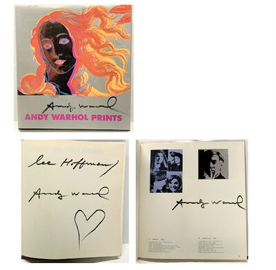 "Andy Warhol, '""Andy Warhol Prints"", Signed 3-Times/ Heart Drawing, Dedicated to Lee Hoffman (listed artist), Exhibition Catalogue, Ronald Feldman Fine Arts / Editions Schellmann', 1985"