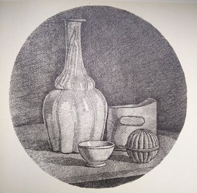 Giorgio Morandi, 'Grande natura morta con bottiglia e tre oggetti ', 1944
