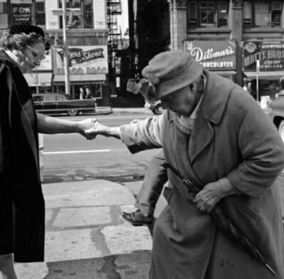 "Vivian Maier, 'VM1962W01046 - Chicago, IL, 1962, Helping Older Woman Cross Street, 12"" X 12""', Printed 2017"