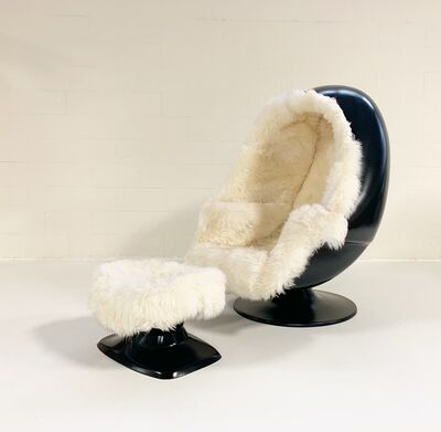 Lee West, 'Alpha Egg Chair and Ottoman Restored in New Zealand Sheepskin', ca. 1970s