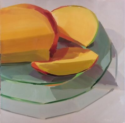 Yuri Tayshete, 'Sliced Mango on a Green Glass Plate', 2020