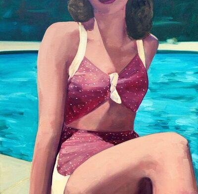 "T.S. Harris, '""Poolside"" Woman in Vintage Purple Bathing Suit with Turquoise Pool Water', 2010-2018"