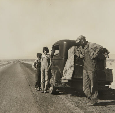 Dorothea Lange, 'Oklahoma Sharecropper and Family Entering California. Stalled on the Desert Near Indio, California', 1937