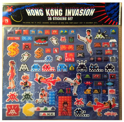 "Invader, '""Hong Kong Invasion, Set of  75- 3D Puffy Stickers, Limited Edition of 1000.', 2014"