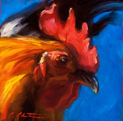 "Cheri Christensen, '""Profiler II"" oil painting of a red rooster in profile with blue background', 2019"