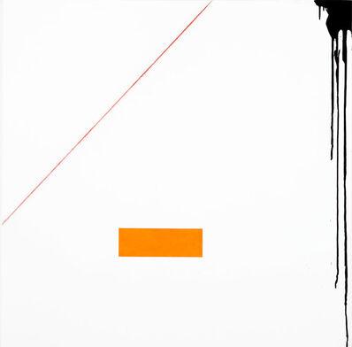 Francisco Ugarte, 'Sin Título (Óleo naranja, acrílico negro, tiralíneas rojo, gesso blanco sobre un bastidor de lino de 120 x 120 cm)', 2019