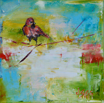 Janice Sugg, 'Contemporary Wildlife Painting 'Red Bird at Dawn' Urban Abstract Landscape Art', 2017
