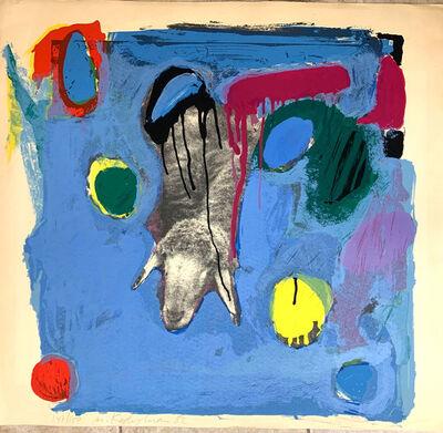 Menashe Kadishman, 'Sheep on blue', 1982