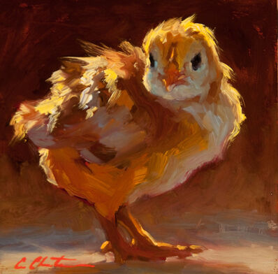 "Cheri Christensen, '""Where"" small scale oil painting of a yellow chick with dark background', 2010-2015"