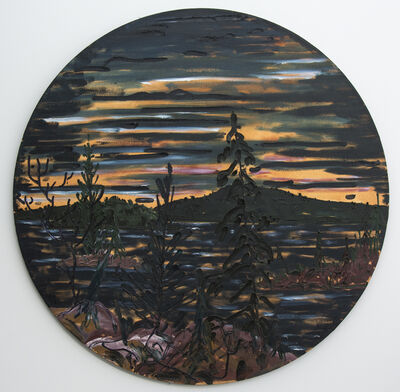 Alex Cameron, 'Last Light on Bay Finn - dark, sunset, landscape, textured, tondo, oil on canvas', 1988